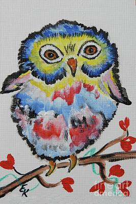 Hearts On Trees Painting - Owl Will Alway Love You - Whimsical Colorful Original Painting #646 by Ella Kaye Dickey
