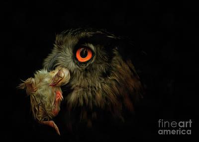 Owl With Prey Art Print by Michal Boubin