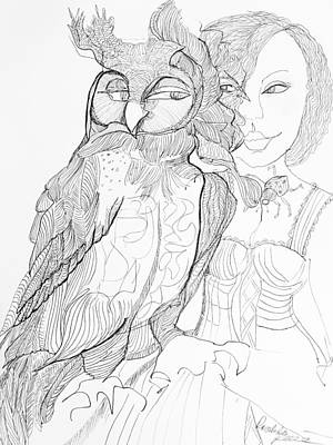 Wall Art - Drawing - Owl With Woman by Rosalinde Reece