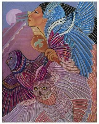 Owl Woman At Chichen Itza Art Print