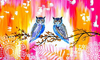Big 3 Painting - Owls by Cathy Jacobs