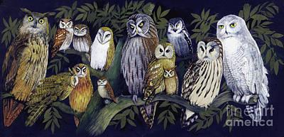 Snowy Owls Wall Art - Painting -  Owls by English School