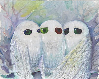 Painting - Owls From Dream by Nino Gabashvili