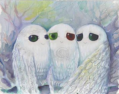 Painting - Owls From Dream by Nino Gabashvili