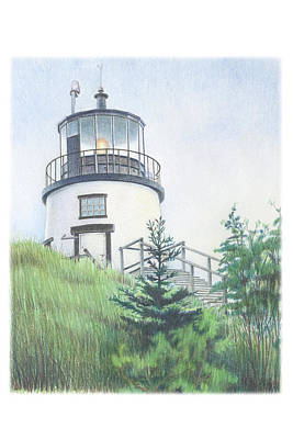 Maine Landscapes Drawing - Owls Head Light by Todd Baxter