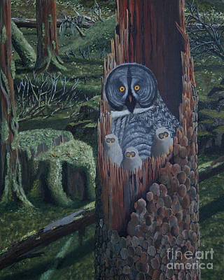 Painting - Owls In A Rainforest by Stanza Widen