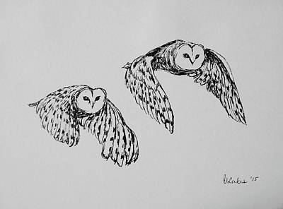 Drawing - Owls In Flight by Victoria Lakes