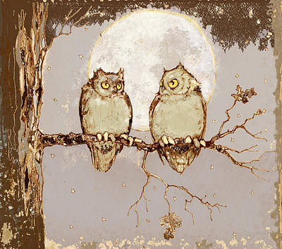 Night Owl Mixed Media - Owls In Moonlight II by Peggy Wilson
