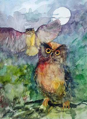Painting - Owls In The Night... by Faruk Koksal