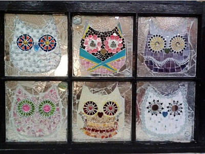 Glass Art - Owls by Liz Lowder