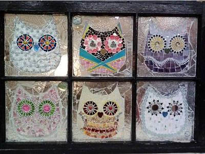 Glass Art - Owls by Liz Lowder