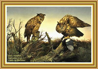 Western Art - Owls On The Hunt L A With Alt. Decorative Ornate Printed Frame. by Gert J Rheeders
