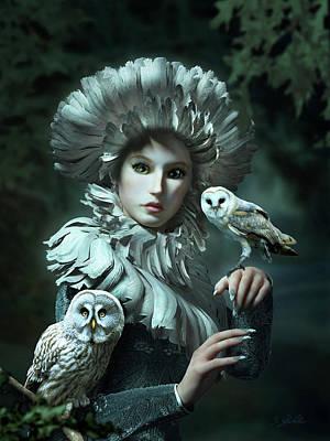 Owl Mixed Media - Owls Talk - Dedicated To Heather King by Britta Glodde