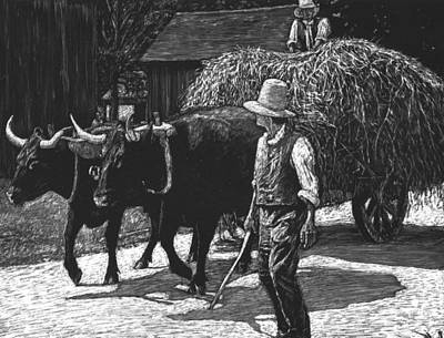 Drawing - Ox-driven Haycart by Robert Goudreau