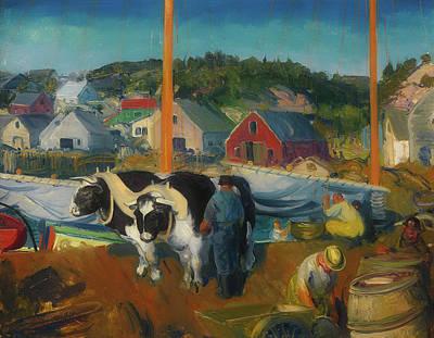 Barrel Painting - Ox Team - Wharf At Matinicus                                   by George Bellows