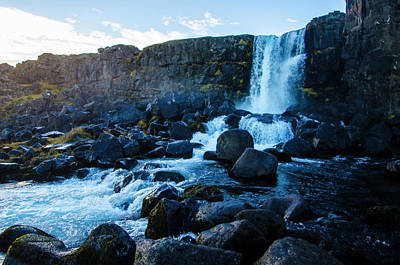Photograph - Oxarafoss 3 - Oxara River Waterfall by Deborah Smolinske