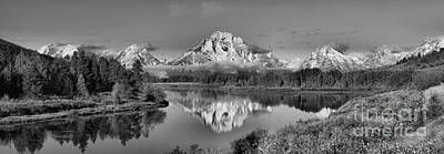 Photograph - Oxbow Bend Morning Panorama Black And White by Adam Jewell