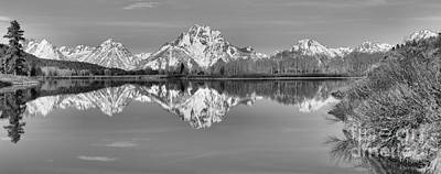 Oxbow Bend Panorama Black And White Art Print by Adam Jewell