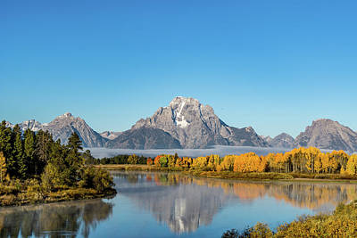 Oxbow Bend Reflecting Art Print by Mary Hone