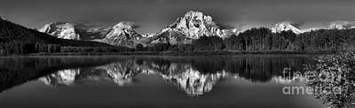 Photograph - Oxbow Bend Snow Capped Reflections Black And White by Adam Jewell