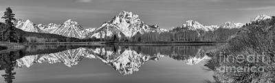 Oxbow Snake River Reflections Black And White Art Print by Adam Jewell
