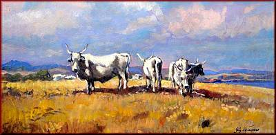 A Summer Evening Landscape Painting - Oxen  by Vaccaro
