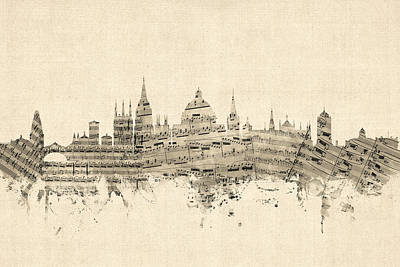 Silhouette Wall Art - Digital Art - Oxford England Skyline Sheet Music by Michael Tompsett
