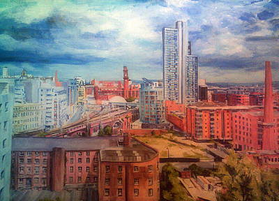 Painting - Oxford Road Station, Manchester, From Above by Rosanne Gartner