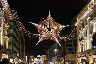 Photograph - Oxford Street London Christmas Stars by Terri Waters