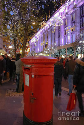 Photograph - Oxford Street Post Box At Christmas by Terri Waters