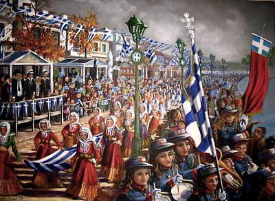 Oxi Day Parade Art Print by Yvonne Ayoub