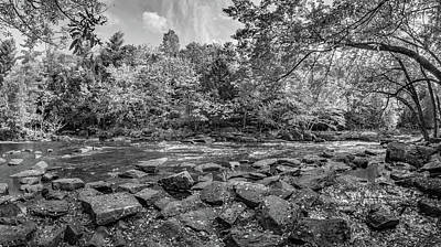 Black Rock Yellow Leaves Water Photograph - Oxtongue Rapids 2 Bw by Steve Harrington