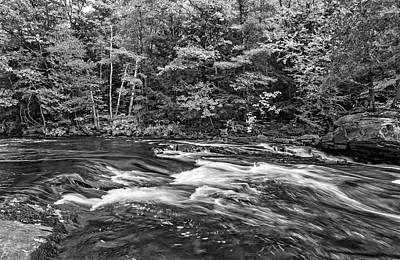 Black Rock Yellow Leaves Water Photograph - Oxtongue Rapids 5 Bw by Steve Harrington