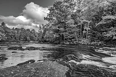 Black Rock Yellow Leaves Water Photograph - Oxtongue River 6 Bw by Steve Harrington
