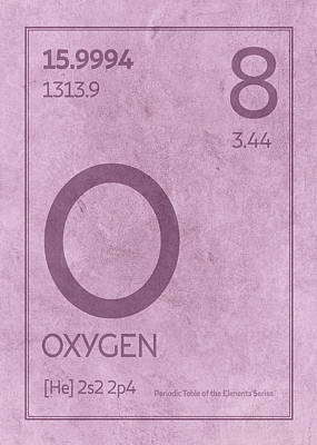 Periodic Table Wall Art - Mixed Media - Oxygen Element Symbol Periodic Table Series 008 by Design Turnpike