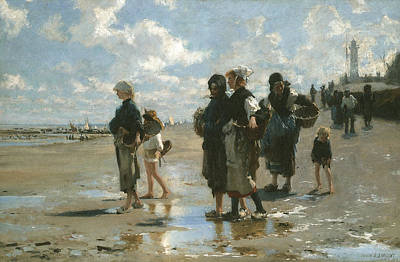 Gatherers Painting - Oyster Gatherers At Cancale by John Singer sargent