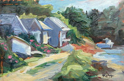 Oyster River Shacks Art Print by Barbara Hageman