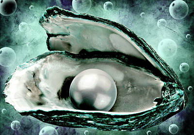 Mixed Media - Oyster Shell With Pearl by Elizavella Bowers