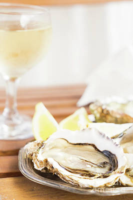 Wooden Platter Photograph - Oysters by Anastasy Yarmolovich