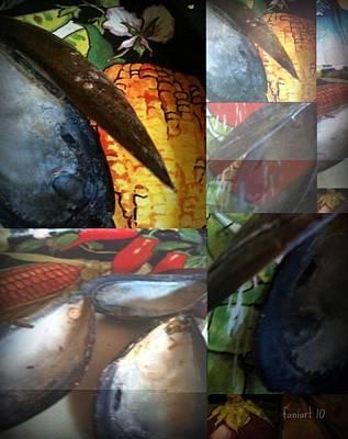 Yesayah Mixed Media - Oysters And Veggies by Fania Simon
