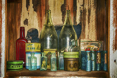 Oysters And Old Bottles Art Print by Janet Ballard