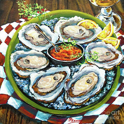 Food And Beverage Wall Art - Painting - Oysters On The Half Shell by Dianne Parks