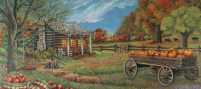 Old Cabins Drawing - Ozark Bounty by Teresa Frazier