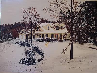 Arkansas Painting - Ozark House Christmas Snow by Sharon  De Vore