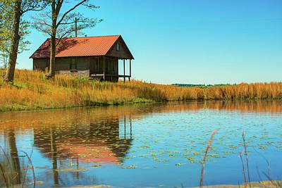 Buffalo National River Photograph - Ozark Mountain House Reflections - Arkansas by Gregory Ballos