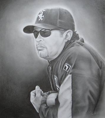 Chicago Baseball Drawing - Ozzie Guillen by Brian Schuster