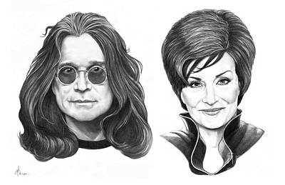 Famous People Drawing - Ozzy And Sharon Osbourne by Murphy Elliott