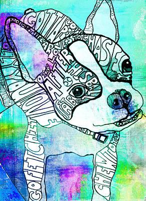 Boston Terrier Painting - Ozzy Boy Blues by Robin Mead