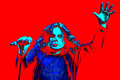 Rock N Roll Icons Digital Art - Ozzy In Red by Martin James