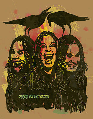 Ozzy Osbourne Pop Stylised Art Poster Art Print by Kim Wang
